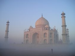 India Taj Mahal Agra Temple Tomb Grave Fog