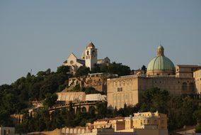 Italy Ancona Landscape Hill Church The Bas