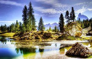 Dolomites, Lago Federa, Nature, Lake