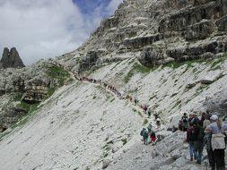 Three Zinnen, Trail, Hike, Crowd, Away