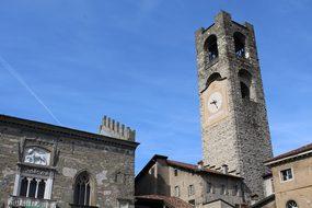 Bergamo Old Town Square Bell Campanile Lom