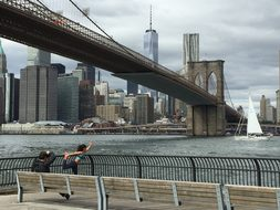 New York Brooklyn Brooklyn Bridge City Man