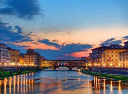 Sunset Florence Italy Ponte Vecchio Sunset