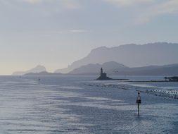 Sea, Island, Lighthouse, Grey, Blue