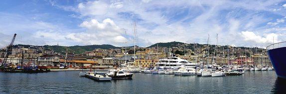 Genoa Italy Water River Building City Pier