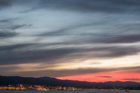 Sunset Gibraltar Algeciras Boats Ships Sky