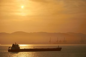 Sunset Tanker Oil Tanker Sea Abendstimmung
