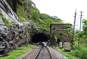 Rail Track Railroad Tunnel Mountain Wester