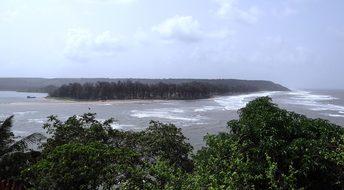 River Estuary Terekhol Sea Goa India Estua