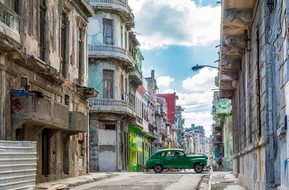 Havana Cuba City Urban Buildings Car Auto