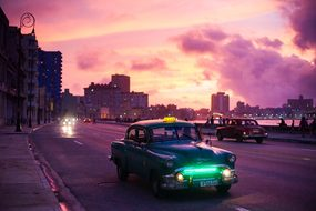 Havana Car Night Sunrise Travel Tourism Cu