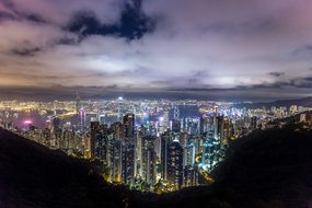 Hong Kong, City, Night, China, Asia