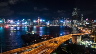 Hong Kong, Harbor, Boats, Water, Night