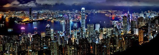 Hong Kong Skyline Night Architecture Asia