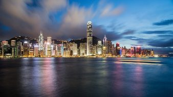 Hong Kong China Night Cityscape Coastline