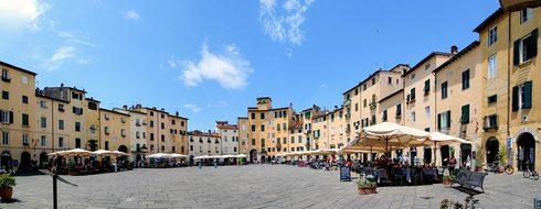 Lucca Italy Panorama Holiday Tuscany Sun R
