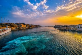 Malta, Harbor, Sunset, Sky, Sea