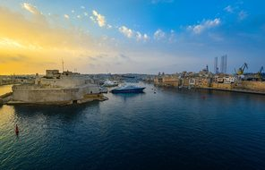 Malta Harbor Sunrise Sunset Bay Valletta S