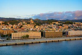 Sicily Harbor Morning Sea Italy Church Cat