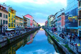 Milan Navigli River Center Italy Landscape