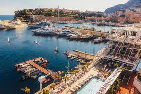 Monaco Bay Harbor Water Ships Mountains Va