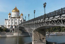 Moscow, Russia, Temple, Bridge, River