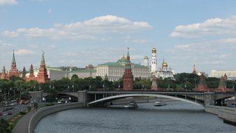 Russia Moscow The Kremlin Panorama View Ri