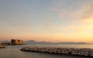 Naples Italy Sea Ocean Water Mountains Cas