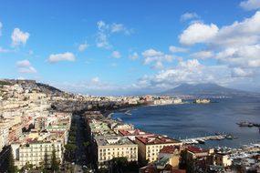 Naples Vesuvius Sea City Sky Clouds Italy