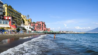 Italy, Naples, Beach, Water, Sea, Wave