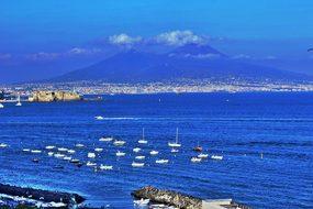 Naples Sea Vesuvius Blue Marine Landscape
