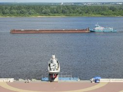 River, Volga, Freighter, Ship, Transport