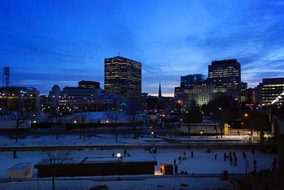 City Lights Night Winter Ottawa Canada Urb