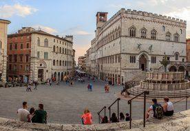 Perugia, Umbria, Italy, Piazza, View