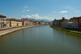 Pisa Pl, Italy, Sky, Clouds, Canal