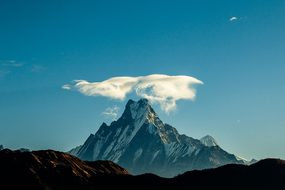 Fishtail Mountain Landscape Nepal Nature T