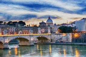 Tiber Bridge Rome Bridge Italy River Churc