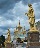 St Petersburg Russia Statues Palace Church