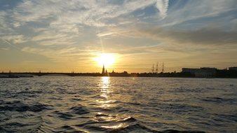 Sunset St Petersburg Russia Petersburg Sai