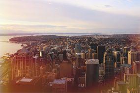 Seattle City Skyline Washington Urban City