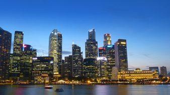 Singapore River Skyline Building Water Blu