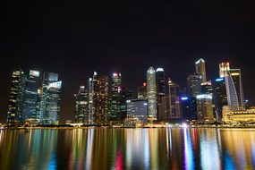 Singapore City Urban Night Lights Complex
