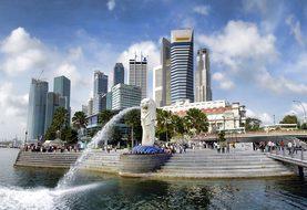 Singapore, Merlion Park, Asia, Landmark