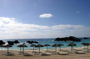 Beach Palapas Ocean Sand Sea Rocks Waves S