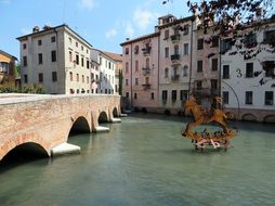 Italy Treviso River Bridge Channel Water C