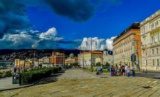 Trieste Marina Palaces Walk Italy Landscap