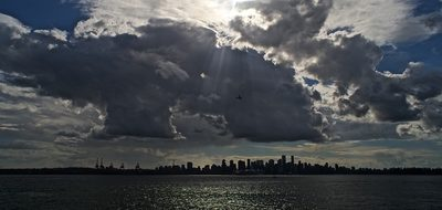 North Vancouver, Clouds, Airplane, Water