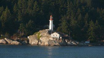 Lighthouse Canada Vancouver Sea Ocean Moun
