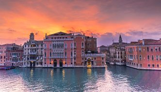 Venice Italy Sunset Grand Canal Architectu
