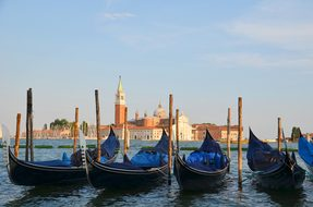 Gondolas, Venice, Italy, Holiday, Church